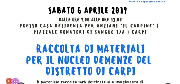 Raccolta materiali per il Nucleo Demenze del Distretto di Carpi | 06 aprile 2019